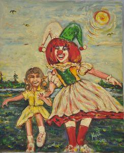 Dancing with Clown - Neil's Original Art