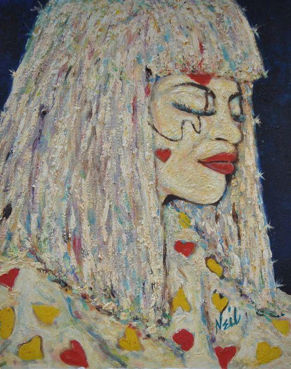 Clown & Hearts - Neil's Original Art