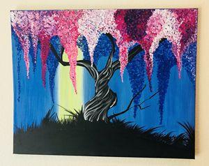 Wisteria Tree Acrylic Painting