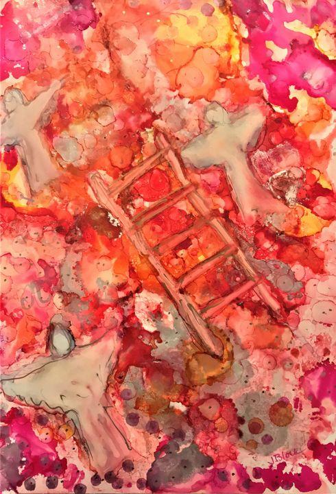 Jacob's Ladder, Pink and Orange - Judy Block
