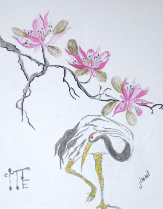 Crane and Chinese Magnolia - Jinni's Art