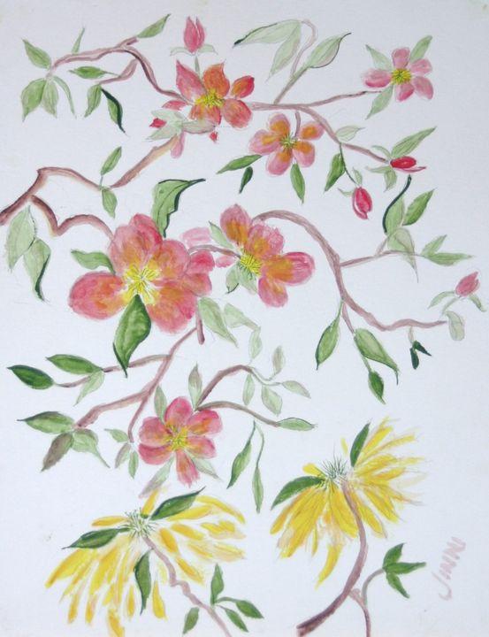 Chrysanthemums and Cosmos - Jinni's Art