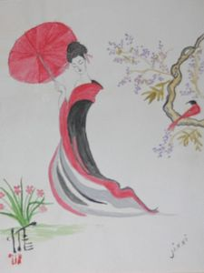 Serene Geisha and a Cardinal