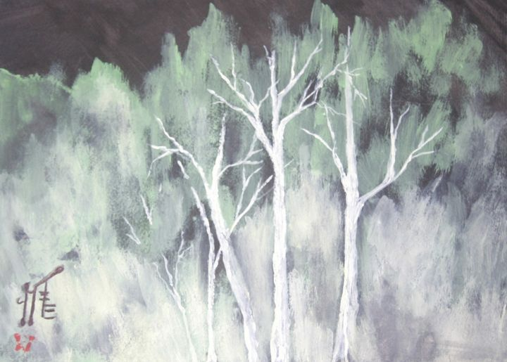 Nighttime in the Woods - Jinni's Art