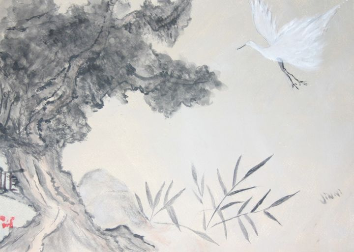 Crane and a very old twisted tree - Jinni's Art