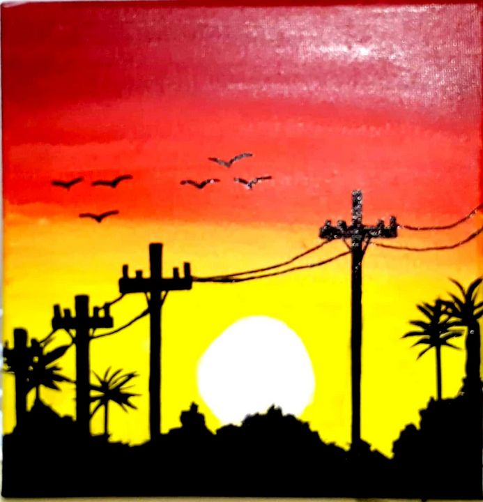 Sunset painting - Love acrylic paintings