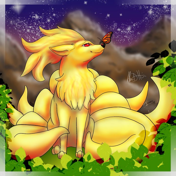 The Visit of Butterfly & Ninetails - Inspirational Wonders of Nature, by ArceeTheVixen