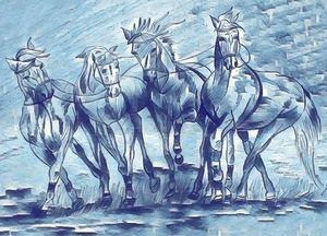 Blue horses- Running beauties - Passionate painter