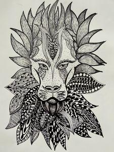 Roaring lion-Doodle art