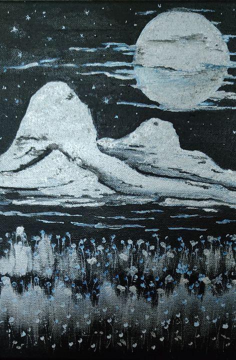 Acrylic night scene landscape - Passionate painter