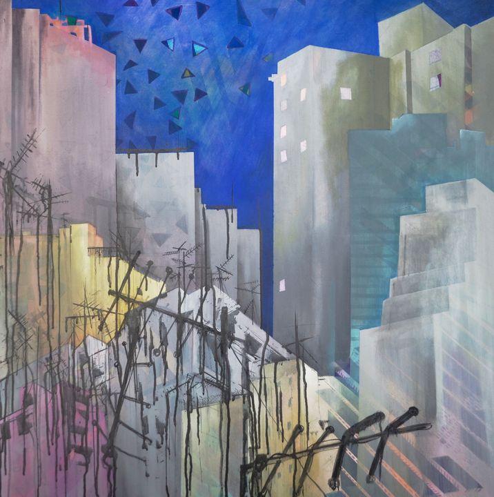 Layered buildings with antennas. - Chris Reinhardt
