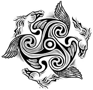 Celtic winged horses of three