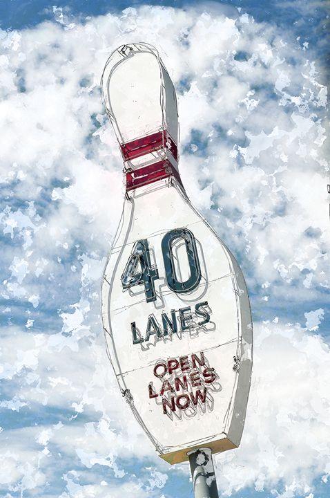 Great vintage Bowling Alley sign adv - Carter Jones