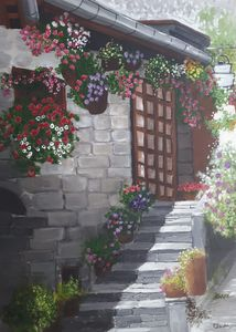 Building with flowers