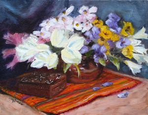 Flowers in Vase with Wood Box