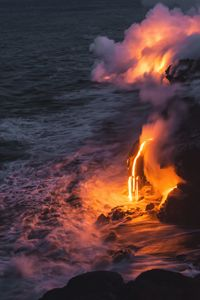 Kilauea Volcano Lava Flow Sea Entry