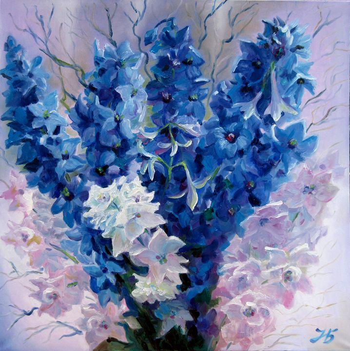 Blue Flowers Bouquet (Delphinium) - Nadia Bykova