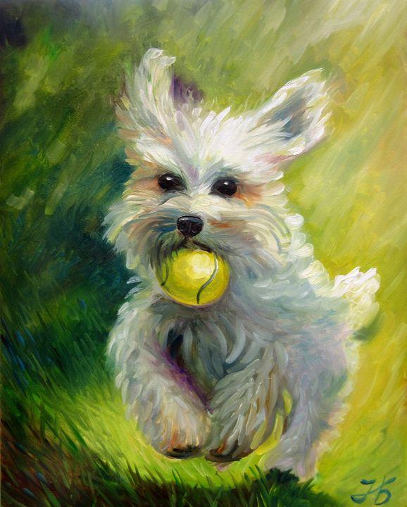 """""""Dog and ball"""" Bichon Frise puppy - Nadia Bykova"""