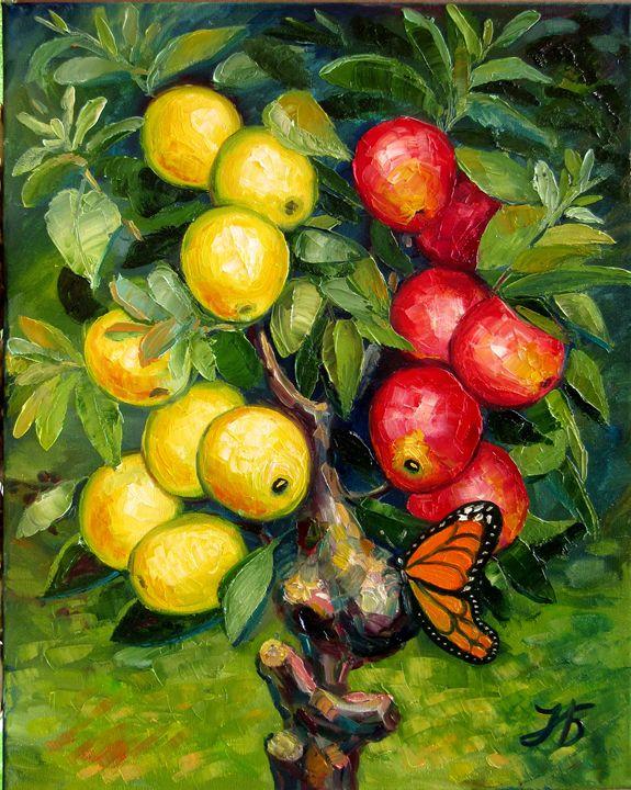 Butterfly Teasing Apple Tree - Nadia Bykova