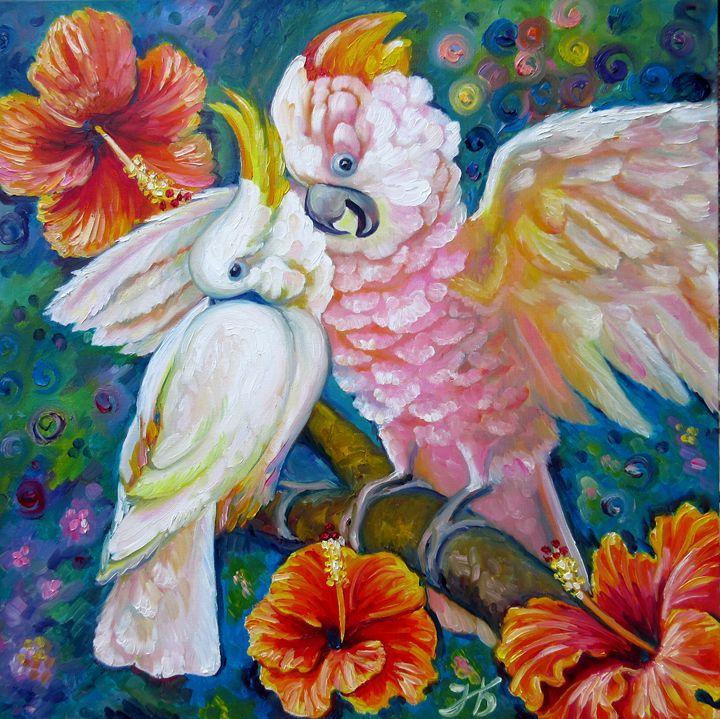 """""""Fell in Love"""" Cockatoo Parrots - Nadia Bykova"""