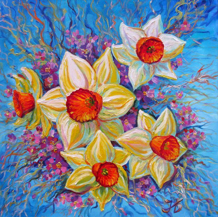 First Spring Daffodils on Blue Sky - Nadia Bykova