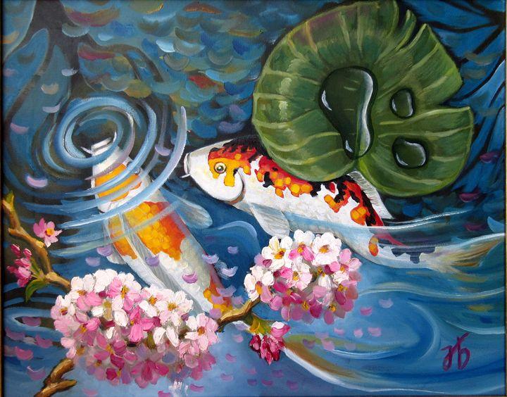 Koi Fish Mating Ritual in Pond - Nadia Bykova