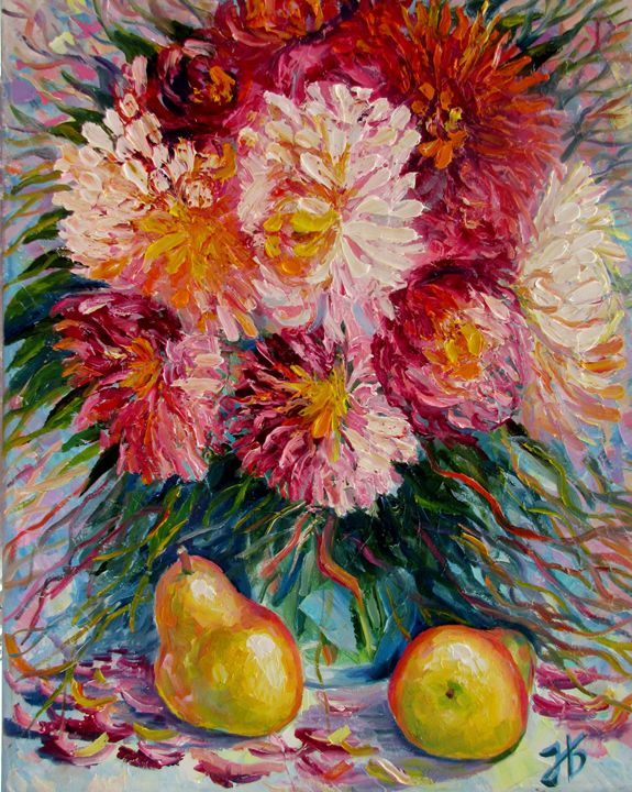 Summer Flowers Bouquet with Pears - Nadia Bykova