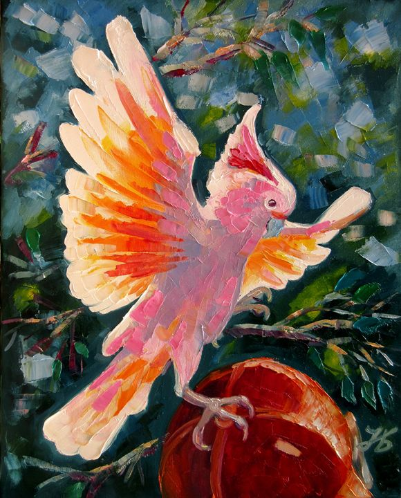 Salmon Pink Cockatoo Parrot - Nadia Bykova