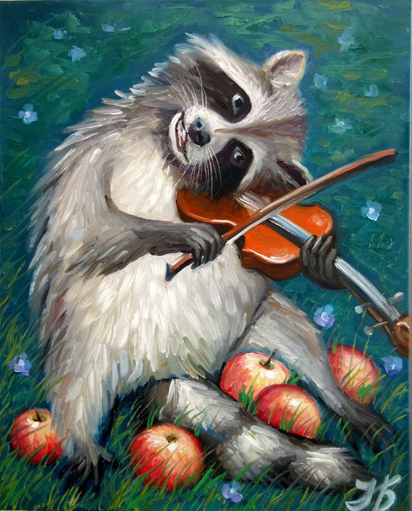 Raccoon Celebrating Apples Harvest - Nadia Bykova