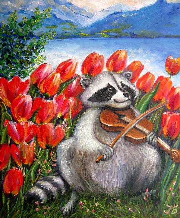 Raccoon Celebrating Spring - Nadia Bykova