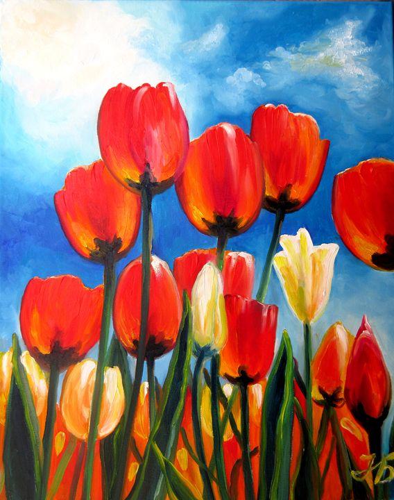 Wild Tulips on Spring Sky - Nadia Bykova