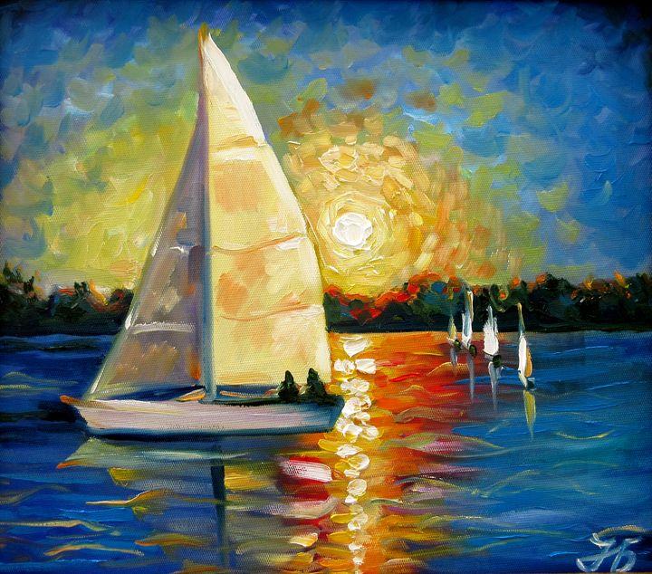 Sailboat in Sunset - Nadia Bykova