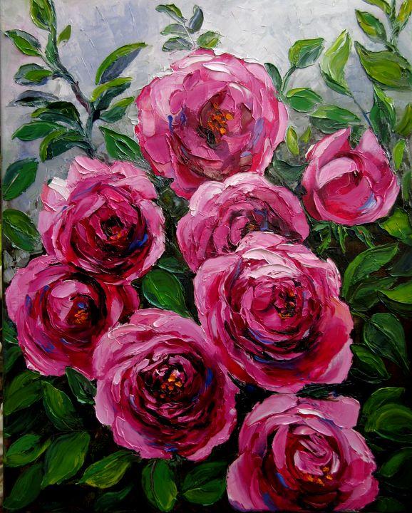 Pink Climbing Roses - Nadia Bykova