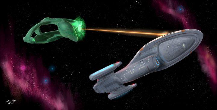 USS Voyager vs Romulan Warbird - Dan Voltz Art Store