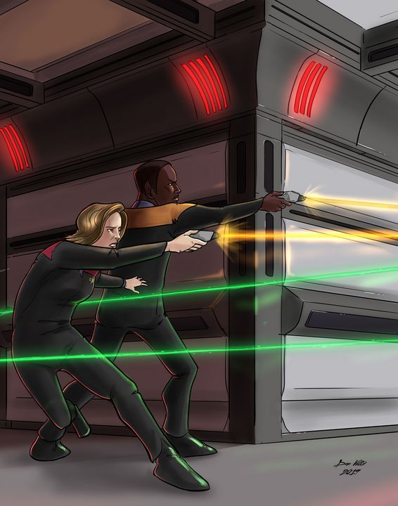 Janeway and Tuvok - Side by Side - Dan Voltz Art Store