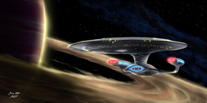 "USS Enterprise-D ""Around the Rings"" - Dan Voltz Art Store"