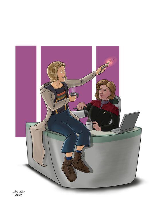 Captain Janeway and the Doctor - Dan Voltz Art Store