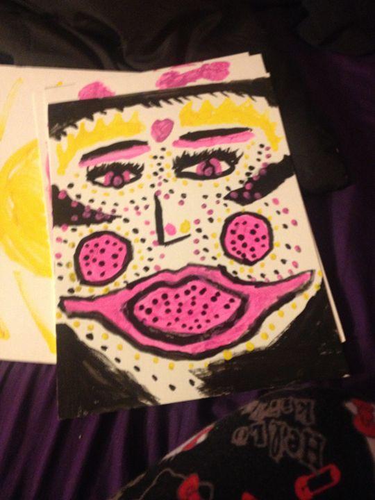 Big mouth Girl with nice makeup - Schizo Art