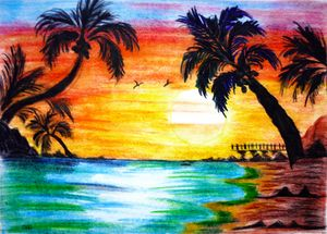 [Get 39+] 40+ Sunset Drawings Of Nature With Color ...