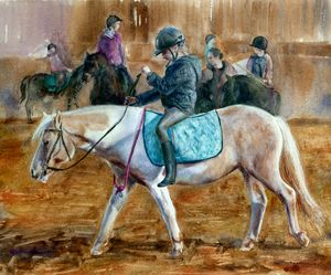 on horseback. horse racing