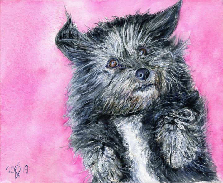 Cute little dog on pink. - shura_hlebnikova_art