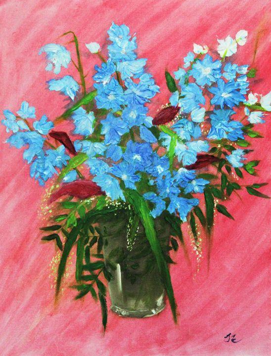Blue Flowers in pink - Bristol Impressionist JZ