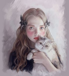 A girl with cat