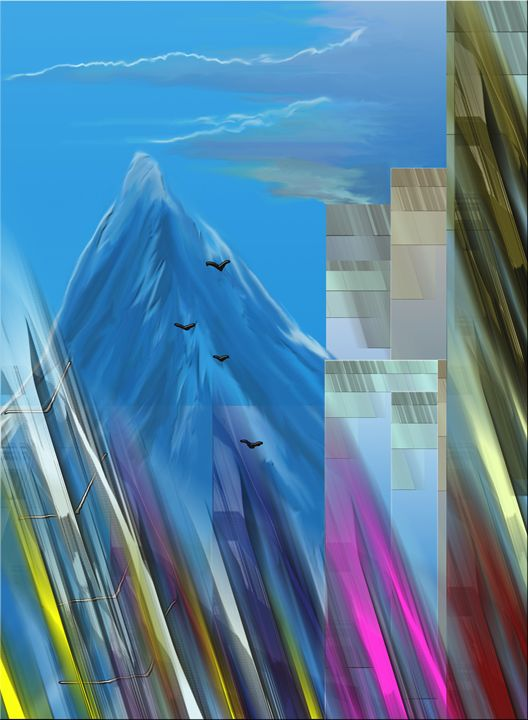 skyscrapers and the mountain - J.B. ASPERIN ART