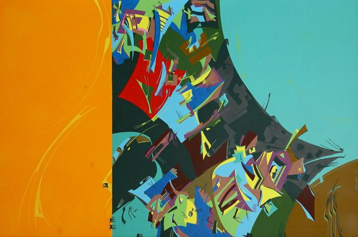 Orange ecstatic experience - Holotropic Art by Edi APOSTU