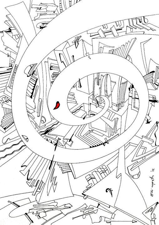 Spiral of Time. F-clef - Holotropic Art by Edi APOSTU