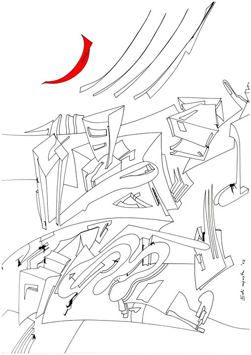 The Red Moon - Holotropic Art by Edi APOSTU