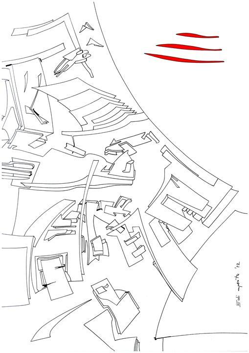 Three red lines - Holotropic Art by Edi APOSTU