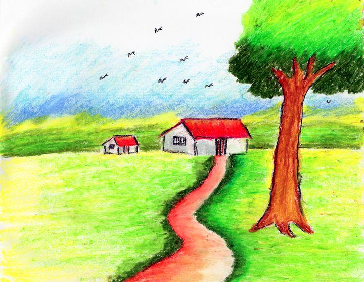 Village hut amidst nature - Barnas creation