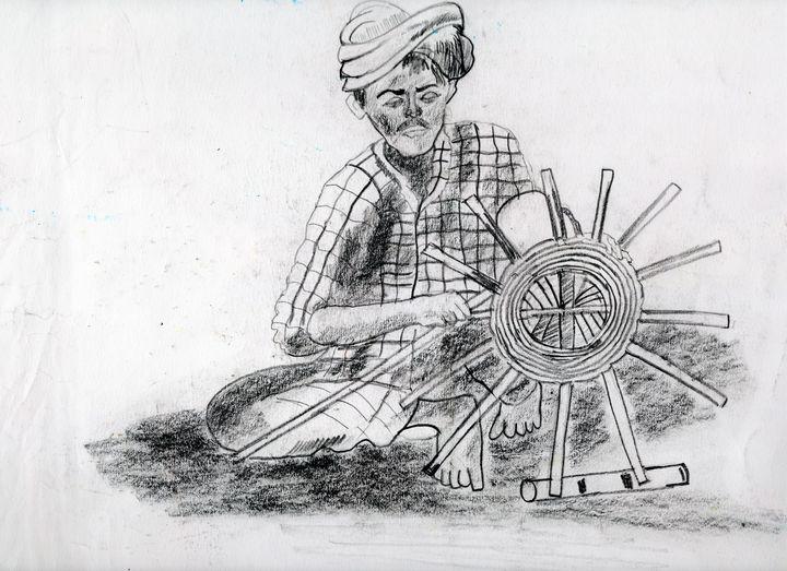 Potter at his work - Barnas creation